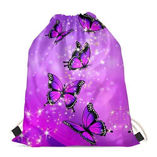 chaqlin Bolsas de compras respetuosas con el medio ambiente, con diseño de mariposa, color morado