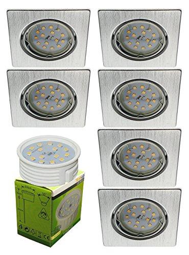 Trango 6er Set 6729-069SMOSD LED Einbaustrahler Aluminium gebürstet Eckig incl. 3 Stufen dimmbar Ultra Flach LED Modul Leuchtmittel 3000K warmweiß Einbauleuchte, Deckenspot, Einbauspot, Deckenleuchte
