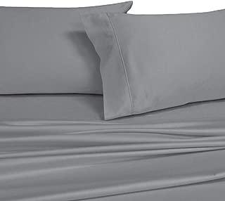 Royal's Solid Gray 1000 Thread Count 4pc Top-Split-King: Adjustable Top Split King Size Bed Sheet Set 100% Cotton, Sateen Solid, Deep Pocket