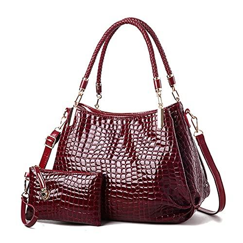 QQWA Damen Stilvolle Handtasche Umhängetasche 2Pcs Sets Brieftasche Frauen Und Männer Telefon Umhängetasche Geldbörse Handtasche,Rotwein