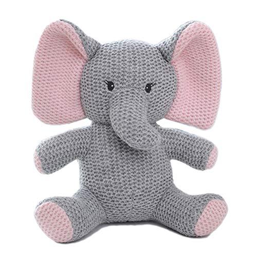 Baumwolle gestrickte Tier Puppe Plüschtier, Creamon Kids Stofftier Spielzeug Baumwolle gestrickte Tier Puppe Cute Baby Pacified Plüschtiere Geschenk grau * pink