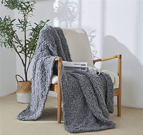 Manta de tiros islandeses grises suave manchada hecha a mano tejida con decorativos para sofá y cama decoración para el hogar