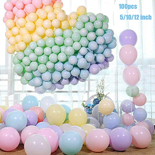 BESTEU 100 globos de látex de color pastel para decoración de fiestas de cumpleaños, baby shower, suministros de ceremonia de boda, globo, arco, globo, torre de globos 12,7 cm Multi-color