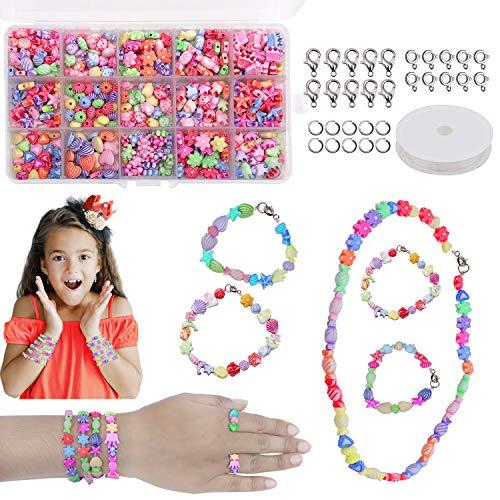 Cuentas Abalorios DIY Beads - 500 Piezas Abalorios para Hacer Pulseras - Incluye Formas Surtidas, Cordel Elástico, Anillas Abiertas, Cierres de Langosta con Caja de Almacenamiento