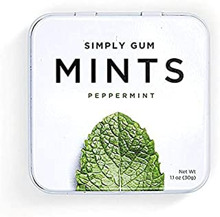 Breath Mints by Simply Gum | Peppermint | Pack of Six (270 Pieces Total) | Vegan + non GMO