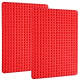"""Silicone Baking Mat Cooking Pan 16""""x11"""" Value 2 Pack Large Non-Stick Healthy Fat Reducing Sheet For Oven Grilling BBQ (2 Pack-Red Large)"""