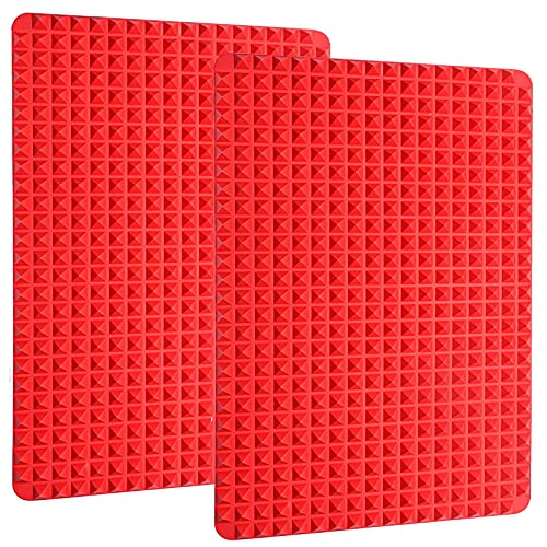 Silicone Baking Mat Cooking Pan 16'x11' 2 Pack Large Non-Stick Healthy Fat Reducing Sheet For Oven Grilling BBQ (2 Pack-Red Large)