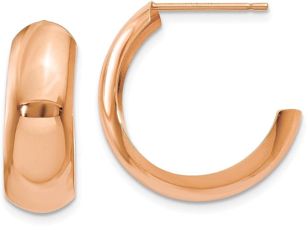 14k Rose Gold Hoop Post Stud Earrings Ear Hoops Set Fine Jewelry For Women Gifts For Her