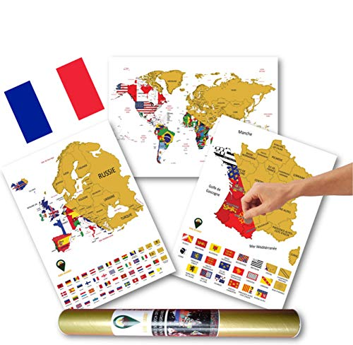 Global Walkabout French A3 Flags World Maps with A3 Country & European Maps (White)