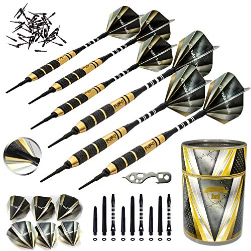 SHOT TAKER CO. EST. 2017 Soft Tip Darts Set D- Professional Darts with Customizable Configuration, Aluminum and Plastic Shafts, O-Rings, Flights, Dart Tool, 50 pc Extra 2BA Tips, Gift Case
