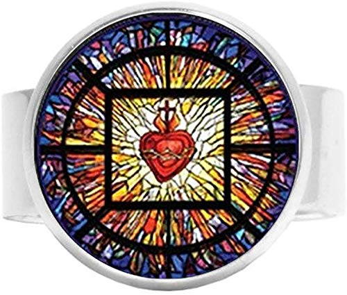 Allerheilige katholische Kirche, Heiliges Herz Jesus, christlicher Schmuck, Charm-Ring, Vintage-Kunst, Fotoschmuck