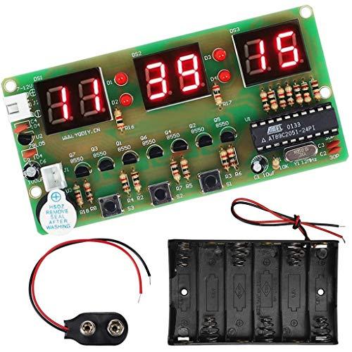 DAOKI Digital Clock DIY Kit 6Bits C51 AT89C2051 Chip Electronic Alarm Clock Kit PCB Board Soldering Practice FR-4 for Arduino with Battery Holder