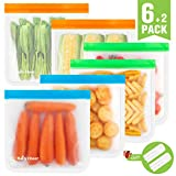 Reusable Gallon Storage Bags 6 Pack, Extra Thick Gallon Freezer Bags, Leakproof Ziplock Gallon Food Storage Bags for Meat, Sandwich, Fruit, Snack, Meal Prep, Travel Items, Home Organization/Multicolor
