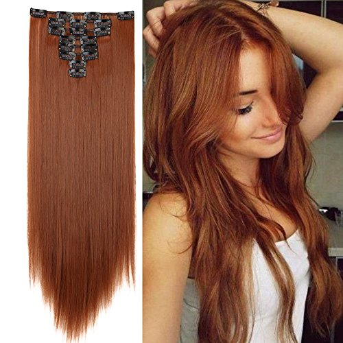 Clip in Hair Extensions 8 PCS 18 Clips 145G Thick Straight Curly Full Head Real Natural Synthetic Fibre Hairpiece for Women Lady Girls(23 inch,light auburn-straight)