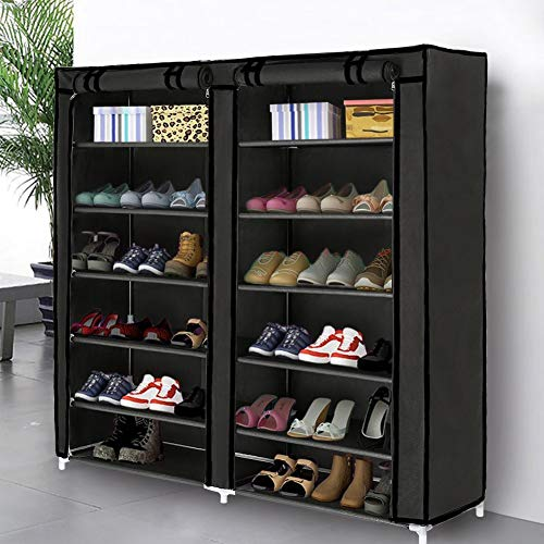 Blissun 7 Tier Shoe Rack Storage Organizer, 36 Pairs Portable Double Row Shoe Rack Shelf Cabinet Tower for Closet with Nonwoven Fabric Cover, Black
