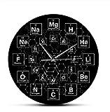 BGNH Reloj de Pared Tabla periódica de 12 Pulgadas Lámina periódica Tabla de Elementos Reloj de Reloj Decoración de Clase Escolar Ciencia química Horloge Profesor Regalo de Estudiante