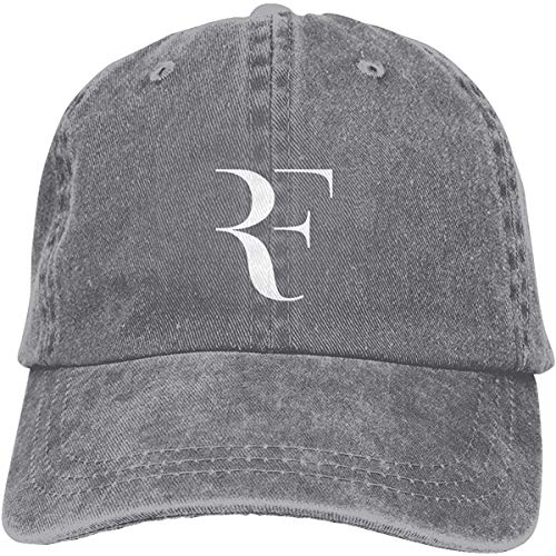 Tengyuntong Unisex Roger Federer RF Logo Retro Cowboy Hat Sports Baseball Cap Adjustable Classic Cotton Adult Hats for Man Womens Grey