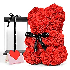 Silk Flower Arrangements Vumdua Rose Teddy Bear, 10 Inch Red Flower Bear with Clear Gift Box & Exquisite Card Perfect for Valentines Day, Mothers Day, Anniversary, Bridal Showers, Weddings