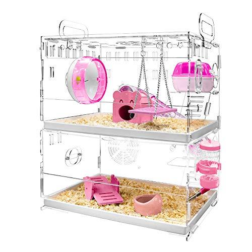 YOKITOMO ハムスターケージ フクロモモンガケージ 透明二代目 トレーデザイン お掃除しやすい! 通気 2階デザイン 持ち運びやすい アクリル製 (ピンク)