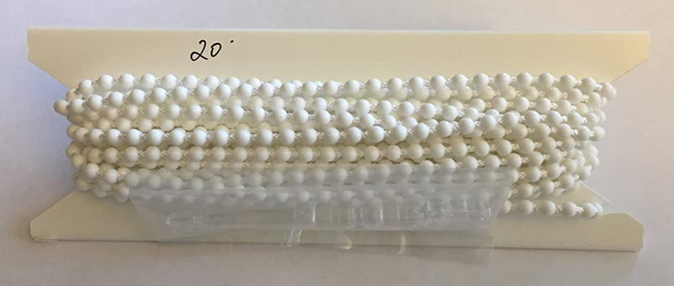 20ft. White Plastic #10 Chain - With 4 Connectors - Blind Beaded Bead Ball
