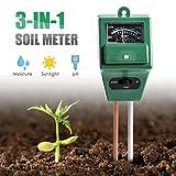 Wallfire Digital PH Soil Tester, 3-in-1 PH Moisture Sunlight Sensor Probe Meter PH