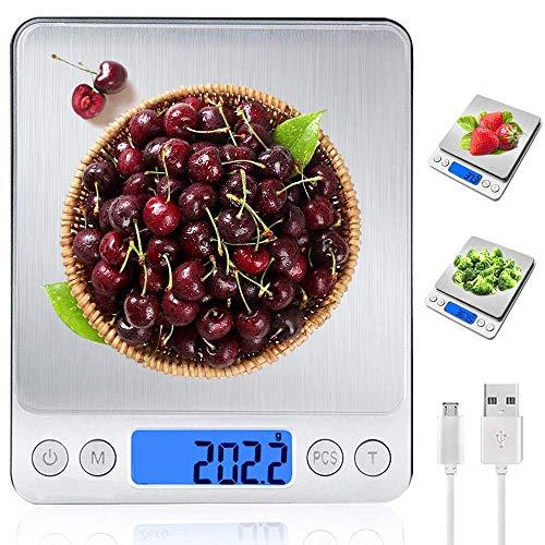 MyDear Báscula Digital para Cocina con Carga USB, Recargable Balanza de Acero Inoxidable Alimentos Multifuncional Alta Precisión(3 kg-0.1g/0.01oz)Peso de cocina Electrónica con...