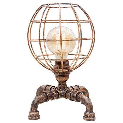 HONGOU Vintage Wasser-Rohr Tischlampe Tischleuchte Antik Design E27 Fassung Schreibtischlampe Retro Industrial Steampunk Nachttischlampe Handwerk Nachtlicht Bürolampe Dekor Lampe Bronze Farbe