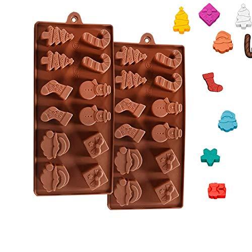 2pcs Flüssige Silikonform der Formen von Weihnachtsbäumen, Socken, Weihnachten Silikon Form Muffin Kuchen Form Backform Wannen-Kuchen-Form Perfektes DIY Backen Werkzeug für Weihnachtsparty