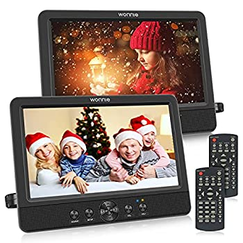 WONNIE 10.5  Two DVD Players Dual Screen for Car Portable CD Player Play a Same or Two Different Movies with Two Mounting Brackets 5-Hour Rechargeable Battery Support USB/SD Card Reader