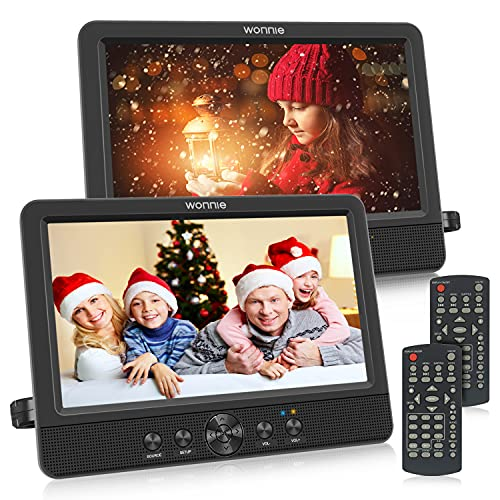 WONNIE 10.5' Two DVD Players Dual Screen for Car Portable CD Player Play a Same or Two Different Movies with Two Mounting Brackets, 5-Hour Rechargeable Battery, Support USB/SD Card Reader