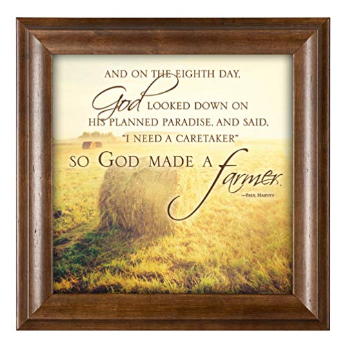 Elanze Designs So God Made a Farmer Hay Bales 12 x 12 Framed Art Wall Plaque with Wood Finish