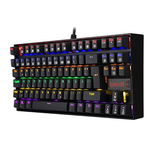 REDRAGON K552 Mechanische Gaming Tastatur 60% Mini TKL Keyboard mit Roten Schaltern 87 Tasten für PC Gaming Rainbow Beleuchtet DE QWERTZ (Schwarz)