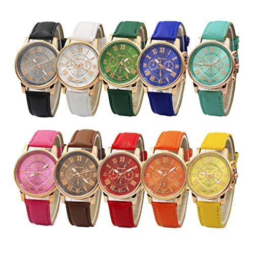 Rosennie Damen Armbanduhr Kunstleder Analoge Quarzuhr Uhren Genf Römische Ziffern Moderne Süßigkeitfarbe Armbanduhr Ultradünne Business Uhr Casual Sportuhr mit Chronograph