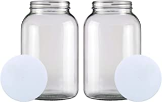 (2 PACK) Bolt Goods 1 Gallon Wide Mouth Glass Mason Jar + Airtight Plastic Lid with Liner Seal + USA MADE + Ferment & Stor...