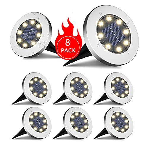 INCX Solar Ground Lights, 8 LED Garden Lights Solar Powered,Disk Lights Waterproof In-Ground Outdoor Landscape Lighting for Patio Pathway Lawn Yard Deck Driveway Walkway,Warm White 8 Packs