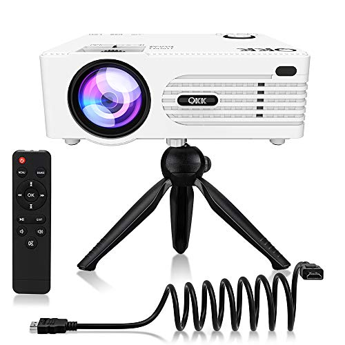 "QKK 2021 Upgraded 5500Lumens Mini Projector, Full HD 1080P & 200"" Display Supported, Portable Movie Projector Compatible with Phone, TV Stick, PS4, HDMI, AV, Dual USB [Tripod Included]"