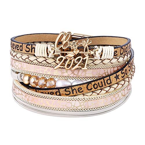 BFF&UNICORN Graduation Gifts for Her Class of 2020-2021 College Bracelets Jewelry Gifts for Teenage Girls Boys Roommate Beige