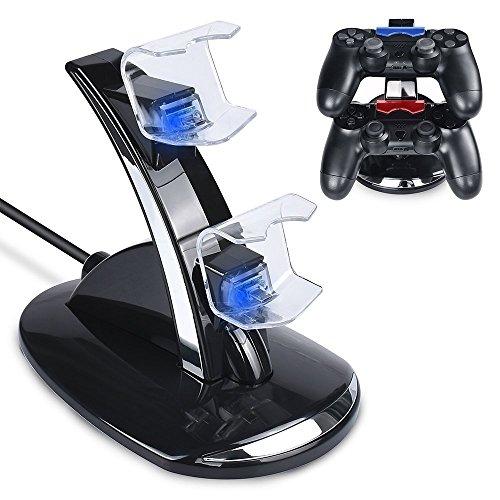 Tihokile Chargeur Manette PS4, Double USB de Charge Rapide Console Contrôleur avec Indicateur LED pour Playstation 4 PS4/PS4 Slim Pro