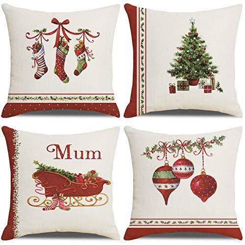 LAXEUYO Kissenbezug Weihnachten 45x45 cm, 4 Stück Weihnachts Dekorationen Kissenhülle Dekorative Baumwolle Leinen Dekokissen Kissenbezug Weihnachten