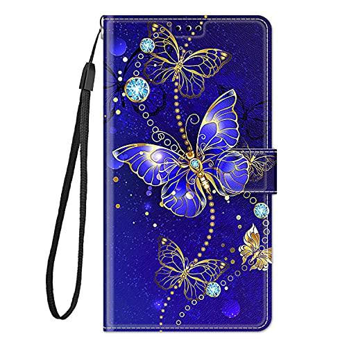 Hülle Leder für Samsung Galaxy J5 2016 Handyhülle, Niedliches Muster Klapphülle Lederhülle mit [360 Grad Stoßfest] [Kartenfachr] Schutzhülle Klappbar Flip Hülle Cover - Lila Schmetterling