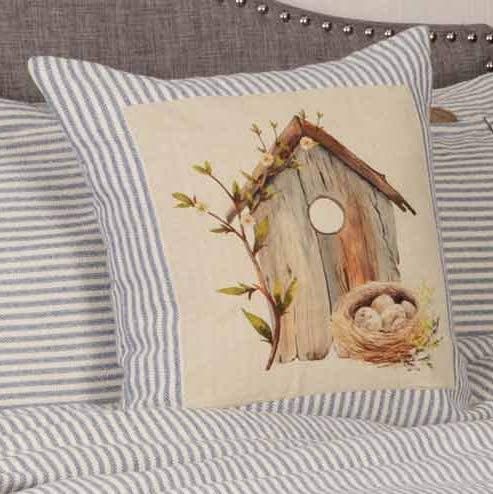 Homespun Blue Ticking Stripe 100% quality warranty! Throw Pillow Cover Special Campaign Nest Bird's with