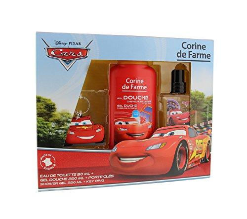 Corine De Farme | Cars | Coffret Cadeau | Disney| Parfum Enfant 50ml | Gel Douche Enfant 250ml | Coloriage Enfant | Porte-clés |Fabriqué en France