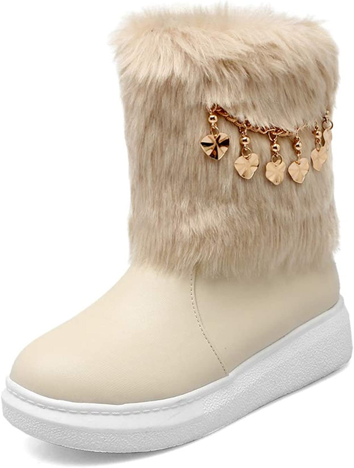 TWGDH Flat Waterproof Snow Ankle Boots Ladies Faux Fur Furry Winter Low Heel Casual Booties Non Slip Outdoor shoes