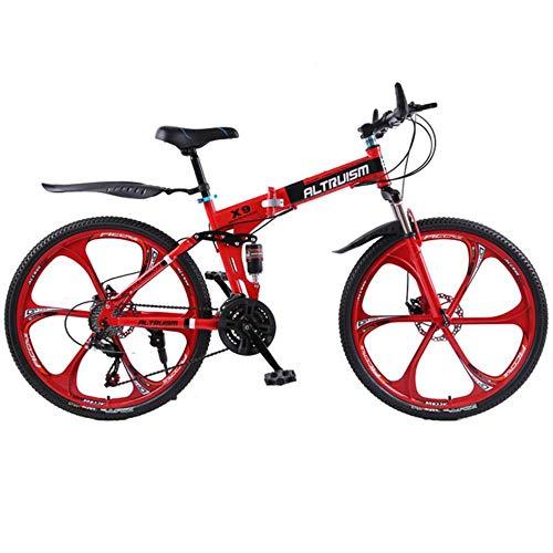 MZLJL Berg Fahrrad, X9 26-Zoll-Faltrad Aluminiumrahmen Mountainbike-Fahrräder 21-Gang-Scheibenbremsen hochgewachsener Mann MTB Fahrräder 6 Farbe Fahrrad, Rot, China