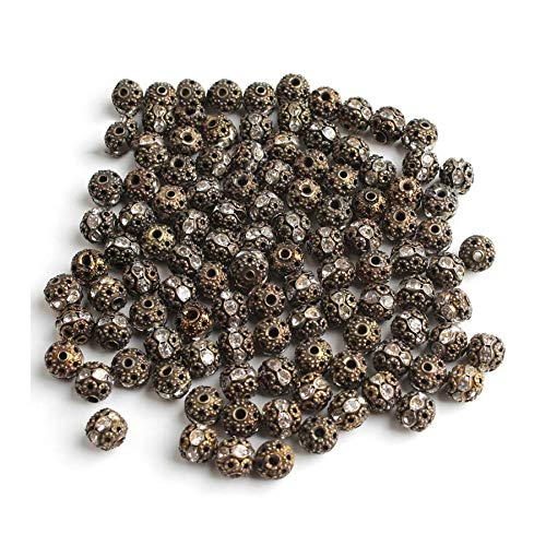 HONGTAI Metal Plated Crystal Rhinestone Ball Spacer Loose Beads Bracelet Necklace (Color : Bronze 8mm)