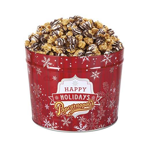 Popcornopolis Gourmet Popcorn 1.26 Gallon Tin with Zebra Popcorn, Red Christmas Tin with Silver Snowflakes