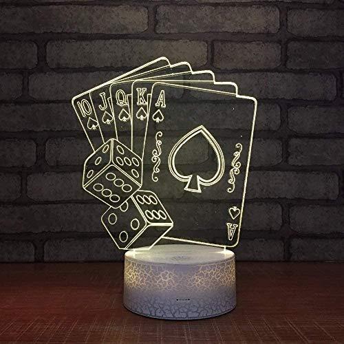 3D Nachtlicht Spielkarten Optische Illusion LED Nachtlampe USB 7 Farben Berührungssteuerung Zuhause Dekor Tischleuchte, für Kinder Weihnachten Geburtstag beste Geschenk Spielzeug