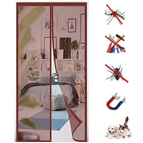 Mosquitera Puerta Magnetica, HGPFCB Cortina Mosquitera para Puertas, Adsorción Magnética Plegable Anti...