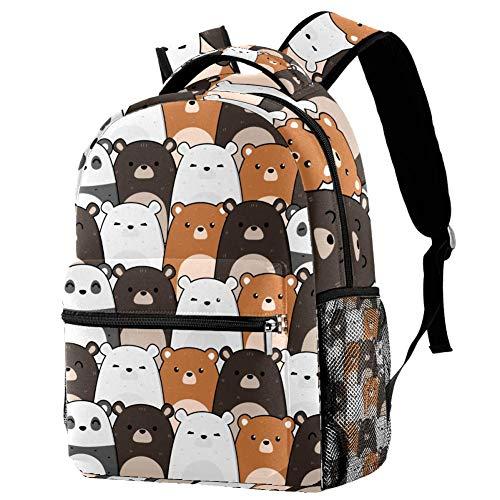 LORVIES Carino Kawaii Teddy Bear Panda Polar e Grizzly Casual Zaino a Spalla Zaino per Scuola Studenti Borse da Viaggio