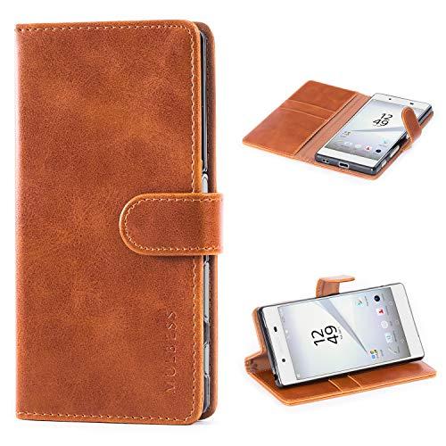 Mulbess Handyhülle für Sony Xperia Z5 Hülle Leder, Sony Xperia Z5 Handy Hüllen, Vintage Flip Handytasche Schutzhülle für Sony Xperia Z5 Hülle, Braun